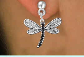 <BR>      WHOLESALE DRAGONFLY JEWELRY<bR>                  EXCLUSIVELY OURS!! <Br>              AN ALLAN ROBIN DESIGN!!<BR>        LEAD, NICKEL & CADMIUM FREE!! <BR>   W1393SE - SILVER TONE AND JET CRYSTAL <BR>        DRAGONFLY CHARM EARRINGS <BR>          FROM $4.95 TO $10.00 �2013