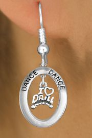 "<BR>      WHOLESALE DRILL JEWELRY<bR>                    EXCLUSIVELY OURS!! <BR>               AN ALLAN ROBIN DESIGN!!<BR>                  LEAD & NICKEL FREE!! <BR> W20052E -  SILVER TONE ""DANCE"" OVAL <BR>    WITH SILVER TONE ""I LOVE DRILL"" <BR>       CHARM ON FISHHOOK EARRINGS <BR>                    $12.68 EACH �2013"