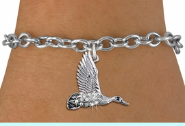 <BR>   WHOLESALE DUCK HUNTING JEWELRY <bR>                 EXCLUSIVELY OURS!! <Br>            AN ALLAN ROBIN DESIGN!! <BR>   CLICK HERE TO SEE 1000+ EXCITING <BR>         CHANGES THAT YOU CAN MAKE! <BR>      LEAD, NICKEL & CADMIUM FREE!! <BR> W1505SB - SILVER TONE AND AUSTRIAN <BR>    CLEAR CRYSTAL FLYING DUCK CHARM <BR>   BRACELET FROM $5.40 TO $9.85 �2013