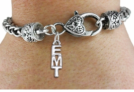 "<bR>       WHOLESALE EMT CHARM BRACELET <BR>                     EXCLUSIVELY OURS!! <BR>                AN ALLAN ROBIN DESIGN!! <BR>          CADMIUM, LEAD & NICKEL FREE!! <BR>        W1497SB - SMALL SILVER TONE  <BR>     VERTICAL ""EMT"" CHARM & HEART CLASP <BR>      BRACELET FROM $3.94 TO $8.75 �2013"