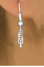 "<br>        WHOLESALE EMT EARRINGS <bR>                 EXCLUSIVELY OURS!! <BR>            AN ALLAN ROBIN DESIGN!! <BR>      CADMIUM, LEAD & NICKEL FREE!! <BR>     W1497SE - SMALL SILVER TONE <Br>   VERTICAL ""EMT"" CHARM EARRINGS <BR>          FROM $3.65 TO $8.40 �2013"