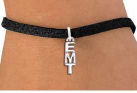 """<br>      WHOLESALE EMT FASHION BRACELET <bR>                    EXCLUSIVELY OURS!!<BR>               AN ALLAN ROBIN DESIGN!!<BR>      CLICK HERE TO SEE 1000+ EXCITING<BR>            CHANGES THAT YOU CAN MAKE!<BR>         CADMIUM, LEAD & NICKEL FREE!!<BR>          W1497SB - SMALL SILVER TONE <Br>     VERTICAL """"EMT"""" CHARM & BRACELET <BR>             FROM $4.15 TO $8.00 �2013"""