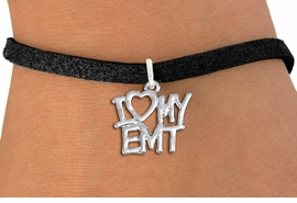 """<br>      WHOLESALE EMT FASHION BRACELET <bR>                    EXCLUSIVELY OURS!!<BR>               AN ALLAN ROBIN DESIGN!!<BR>      CLICK HERE TO SEE 1000+ EXCITING<BR>            CHANGES THAT YOU CAN MAKE!<BR>         CADMIUM, LEAD & NICKEL FREE!!<BR>     W1498SB - BEAUTIFUL SILVER TONE <Br>    """"I LOVE MY EMT"""" CHARM & BRACELET <BR>             FROM $4.15 TO $8.00 �2013"""