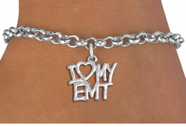 "<br>      WHOLESALE EMT FASHION BRACELET <bR>                    EXCLUSIVELY OURS!!<BR>               AN ALLAN ROBIN DESIGN!!<BR>      CLICK HERE TO SEE 1000+ EXCITING<BR>            CHANGES THAT YOU CAN MAKE!<BR>         CADMIUM, LEAD & NICKEL FREE!!<BR>     W1498SB - BEAUTIFUL SILVER TONE <Br>    ""I LOVE MY EMT"" CHARM & BRACELET <BR>             FROM $4.15 TO $8.00 �2013"