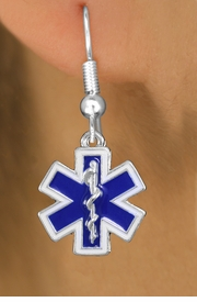 <BR>  WHOLESALE EMT FASHION EARRINGS <bR>              EXCLUSIVELY OURS!! <Br>         AN ALLAN ROBIN DESIGN!! <BR>   LEAD, NICKEL & CADMIUM FREE!! <BR> W1496SE - SILVER TONE, BLUE AND WHITE <BR> FILL EMT CROSS AND CADUCEUS CHARM <BR> EARRINGS FROM $4.95  TO $10.00 �2013