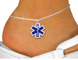 <bR>     WHOLESALE EMT FASHION JEWELRY <BR>                  EXCLUSIVELY OURS!! <BR>             AN ALLAN ROBIN DESIGN!! <BR>       LEAD, NICKEL & CADMIUM FREE!! <BR> W1496SAK - SILVER TONE, BLUE AND WHITE <BR> FILL EMT CROSS AND CADUCEUS CHARM AND <Br>    ANKLET FROM $4.35 TO $9.00 �2013