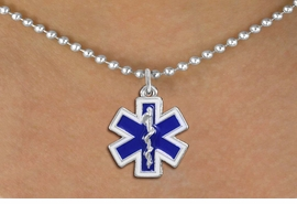 <BR>       WHOLESALE EMT NECKLACE JEWELRY <bR>                   EXCLUSIVELY OURS!! <Br>              AN ALLAN ROBIN DESIGN!! <BR>     CLICK HERE TO SEE 1000+ EXCITING <BR>           CHANGES THAT YOU CAN MAKE! <BR>        LEAD, NICKEL & CADMIUM FREE!! <BR> W1496SN - SILVER TONE, BLUE AND WHITE <BR>  FILL EMT CROSS WITH CADUCEUS CHARM  <BR>   NECKLACE FROM $5.90 TO $9.35 �2013