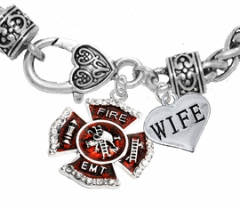 "<Br>     WHOLESALE EMT ON A MALTESE CROSS JEWELRY  <BR>                             AN ALLAN ROBIN DESIGN!! <Br>                     CADMIUM, LEAD & NICKEL FREE!!  <Br>                   W1720-1876B1  ""EMT  WIFE"" HEART  <BR>       CHARMS ON HEART LOBSTER CLASP BRACELET <BR>                            FROM $7.50 TO $9.50 �2016"