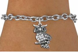 <BR>   WHOLESALE FASHION ANIMAL JEWELRY <bR>                 EXCLUSIVELY OURS!! <Br>            AN ALLAN ROBIN DESIGN!! <BR>   CLICK HERE TO SEE 1000+ EXCITING <BR>         CHANGES THAT YOU CAN MAKE! <BR>      LEAD, NICKEL & CADMIUM FREE!! <BR> W1510SB - ANTIQUED SILVER TONE AND <BR> SPARKLING CLEAR CRYSTAL OWL CHARM <BR> BRACELET FROM $5.40 TO $9.85 �2013