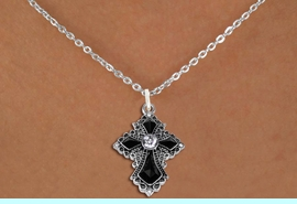 <BR>   WHOLESALE FASHION CHRISTIAN JEWELRY  <bR>                    EXCLUSIVELY OURS!!  <Br>               AN ALLAN ROBIN DESIGN!!  <BR>      CLICK HERE TO SEE 1000+ EXCITING  <BR>            CHANGES THAT YOU CAN MAKE!  <BR>         LEAD, NICKEL & CADMIUM FREE!!  <BR>    W1712SN - ANTIQUED SILVER TONE AND  <BR>    JET AND CLEAR CRYSTAL GOTHIC CROSS <BR> CHARM ON LOBSTER CLASP CHAIN NECKLACE  <BR>                           FROM $7.38  �2015
