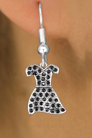 <BR>   WHOLESALE FASHION EARRINGS <bR>               EXCLUSIVELY OURS!! <Br>          AN ALLAN ROBIN DESIGN!! <BR>    LEAD, NICKEL & CADMIUM FREE!! <BR> W1509SE - SILVER TONE AND JET BLACK <BR>  CRYSTAL LITTLE BLACK DRESS CHARM <BR>  EARRINGS FROM $5.40 TO $10.45 �2013