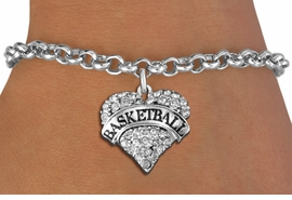 "<BR>             BASKETBALL HEART JEWELRY WHOLESALE<bR>                                     EXCLUSIVELY OURS!! <Br>                       AN ALLAN ROBIN DESIGN!! <BR>                 LEAD, NICKEL & CADMIUM FREE!! <BR>            W1579SB - ANTIQUED SILVER TONE AND <BR>         CLEAR CRYSTAL ""BASKETBALL"" HEART CHARM <BR>            BRACELET FROM $5.40 TO $9.85 �2014<BR>PICTURED ABOVE"" ADULT LOBSTER CHAIN BREACELET """