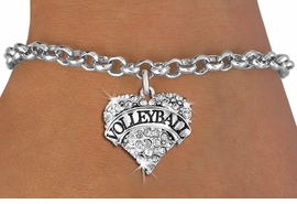 """<BR>           VOLLEYBALL HEART JEWELRY <bR>                   EXCLUSIVELY OURS!! <Br>              AN ALLAN ROBIN DESIGN!! <BR>        LEAD, NICKEL & CADMIUM FREE!! <BR>   W1580SB - ANTIQUED SILVER TONE AND <BR>CLEAR CRYSTAL """"VOLLEYBALL"""" HEART CHARM <BR>   BRACELET FROM $5.40 TO $9.85 �2014<BR>    PICTURED ABOVE """"CHAIN BREACELET """""""