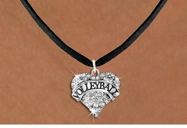 """<BR>     VOLLEYBALL HEART JEWELRY <bR>                   EXCLUSIVELY OURS!! <Br>              AN ALLAN ROBIN DESIGN!! <BR>        LEAD, NICKEL & CADMIUM FREE!! <BR>   W1580SN - ANTIQUED SILVER TONE AND <BR>CLEAR CRYSTAL """"VOLLEYBALL"""" HEART CHARM <BR>   NECKLACE FROM $5.40 TO $9.85 �2014<BR>PICTURED ABOVE  """"BLACK SUEDE NECKLACE"""""""