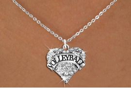 """<BR>           VOLLEYBALL HEART JEWELRY <bR>                   EXCLUSIVELY OURS!! <Br>              AN ALLAN ROBIN DESIGN!! <BR>        LEAD, NICKEL & CADMIUM FREE!! <BR>   W1580SN - ANTIQUED SILVER TONE AND <BR>CLEAR CRYSTAL """"VOLLEYBALL"""" HEART CHARM <BR>   NECKLACE FROM $5.40 TO $9.85 �2014<BR>PICTURED ABOVE  """"SMALL CHAIN NECKLACE"""""""