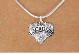 "<BR>     WHOLESALE FASHION HEART JEWELRY <bR>                   EXCLUSIVELY OURS!! <Br>              AN ALLAN ROBIN DESIGN!! <BR>     CLICK HERE TO SEE 1600+ EXCITING <BR>           CHANGES THAT YOU CAN MAKE! <BR>        LEAD, NICKEL & CADMIUM FREE!! <BR>   W1581SN - ANTIQUED SILVER TONE AND <BR>CLEAR CRYSTAL ""LACROSSE"" HEART CHARM <BR>   NECKLACE FROM $5.40 TO $9.85 �2014<BR>PICTURED ABOVE  ""SNAKE CHAIN NECKLACE"""