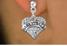 """<BR>     WHOLESALE FASHION HEART JEWELRY <bR>                   EXCLUSIVELY OURS!! <Br>              AN ALLAN ROBIN DESIGN!! <BR>        LEAD, NICKEL & CADMIUM FREE!! <BR>   W1579SE - ANTIQUED SILVER TONE AND <BR>CLEAR CRYSTAL """"BASKETBALL"""" HEART CHARM <BR>POST EARRING FROM $5.40 TO $9.35 �2014"""