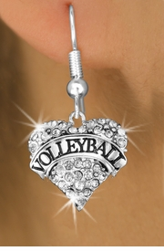 """<BR>              VOLLEYBALL HEART EARRINGS <bR>                      EXCLUSIVELY OURS!! <Br>                 AN ALLAN ROBIN DESIGN!! <BR>           LEAD, NICKEL & CADMIUM FREE!! <BR>      W1580SE - ANTIQUED SILVER TONE AND <BR>   CLEAR CRYSTAL """"VOLLEYBALL"""" HEART CHARM <BR>FISH HOOK EARRING FROM $5.40 TO $9.35 �2014"""