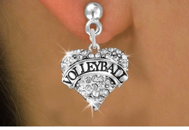 """<BR>    VOLLEYBALL HEART EARRINGS <bR>                   EXCLUSIVELY OURS!! <Br>              AN ALLAN ROBIN DESIGN!! <BR>        LEAD, NICKEL & CADMIUM FREE!! <BR>   W1580SE - ANTIQUED SILVER TONE AND <BR>CLEAR CRYSTAL """"VOLLEYBALL"""" HEART CHARM <BR>   POST EARRING FROM $5.40 TO $9.35 �2014"""