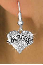 "<BR>     WHOLESALE FASHION HEART JEWELRY <bR>                   EXCLUSIVELY OURS!! <Br>              AN ALLAN ROBIN DESIGN!! <BR>        LEAD, NICKEL & CADMIUM FREE!! <BR>   W1581SE - ANTIQUED SILVER TONE AND <BR>CLEAR CRYSTAL ""LACROSSE"" HEART CHARM <BR>   EARRING FROM $5.40 TO $9.35 �2014"