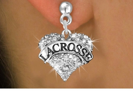 "<BR>     WHOLESALE FASHION HEART JEWELRY <bR>                   EXCLUSIVELY OURS!! <Br>              AN ALLAN ROBIN DESIGN!! <BR>        LEAD, NICKEL & CADMIUM FREE!! <BR>   W1581SE - ANTIQUED SILVER TONE AND <BR>CLEAR CRYSTAL ""LACROSSE"" HEART CHARM <BR> POST EARRING FROM $5.40 TO $9.35 �2014"