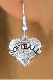 """<BR>          WHOLESALE FASHION HEART JEWELRY <bR>                        EXCLUSIVELY OURS!! <Br>                   AN ALLAN ROBIN DESIGN!! <BR>             LEAD, NICKEL & CADMIUM FREE!! <BR>        W1582SE - ANTIQUED SILVER TONE AND <BR>     CLEAR CRYSTAL """"SOFTBALL"""" HEART CHARM <BR>FISH HOOK EARRING FROM $5.40 TO $9.35 �2014"""