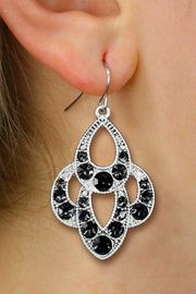 <BR>        WHOLESALE FASHION JEWELRY <Br>    CADMIUM, LEAD AND NICKEL FREE!! <Br>     W20519E - ANTIQUED SILVER TONE <BR>  ORNATE JET BLACK CRYSTAL EARRINGS <Br>          FROM $3.94 TO $8.75 �2013