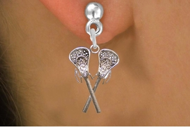 <BR>           WHOLESALE FASHION SPORTS JEWELRY  <bR>                         EXCLUSIVELY OURS!!  <Br>                    AN ALLAN ROBIN DESIGN!!  <BR>              LEAD, NICKEL & CADMIUM FREE!!  <BR>      W1585SE - LACROSSE POST EARRINGS WITH <BR> CRYSTAL ACCENTS FROM $5.25 TO $10.00 �2014