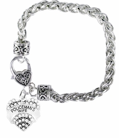 <BR>WHOLESALE FASHION POLICEMAN'S WIFE JEWELRY  <bR>                    EXCLUSIVELY OURS!!  <Br>               AN ALLAN ROBIN DESIGN!!  <BR>         LEAD, NICKEL & CADMIUM FREE!!  <BR>   W1674SB1 - ANTIQUED SILVER TONE AND  <BR>                  CRYSTAL POLICEMAN'S WIFE <BR>CHARM ON HEART LOBSTER CLASP BRACELET  <Br>            FROM $5.98 TO $12.85 �2015