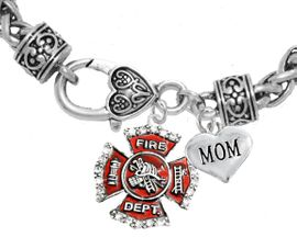 "<Br>              WHOLESALE FIREFIGHTER JEWELRY  <BR>                         AN ALLAN ROBIN DESIGN!! <Br>                   CADMIUM, LEAD & NICKEL FREE!!  <Br> W1284-1837B1  ""FIREFIGHTER  MOM"" HEART  <BR>  CHARMS ON HEART LOBSTER CLASP BRACELET <BR>                                      $9.38 �2016"