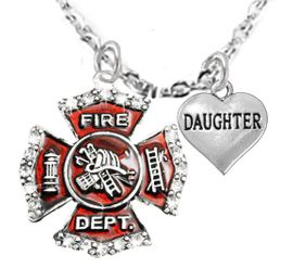 "<Br>WHOLESALE FIREFIGHTER MALTESE CROSS JEWELRY  <BR>                             AN ALLAN ROBIN DESIGN!! <Br>                    CADMIUM, LEAD & NICKEL FREE!!  <Br>     W1284-1831N1  ""FIREFIGHTER  DAUGHTER"" HEART  <BR>      CHARMS ON ADJUSTABLE CHAIN NECKLACE<BR>                                     $9.38 �2016"
