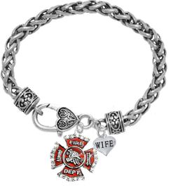 "<Br>              WHOLESALE FIREFIGHTER JEWELRY  <BR>                         AN ALLAN ROBIN DESIGN!! <Br>                   CADMIUM, LEAD & NICKEL FREE!!  <Br> W1284-1876B1  ""FIREFIGHTER  WIFE"" HEART  <BR>  CHARMS ON HEART LOBSTER CLASP BRACELET <BR>                                     $9.38 �2016"