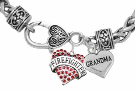 "<Br>              WHOLESALE FIREFIGHTER JEWELRY  <BR>                         AN ALLAN ROBIN DESIGN!! <Br>                   CADMIUM, LEAD & NICKEL FREE!!  <Br> W1557-1832B1  ""FIREFIGHTER  GRANDMA"" HEART  <BR>  CHARMS ON HEART LOBSTER CLASP BRACELET <BR>                                     $9.38 �2016"