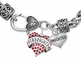 "<Br>              WHOLESALE FIREFIGHTER JEWELRY  <BR>                         AN ALLAN ROBIN DESIGN!! <Br>                   CADMIUM, LEAD & NICKEL FREE!!  <Br> W1557-1831B1  ""FIREFIGHTER  DAUGHTER"" HEART  <BR>  CHARMS ON HEART LOBSTER CLASP BRACELET <BR>                                     $9.38 �2016"
