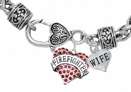 "<Br>              WHOLESALE FIREFIGHTER JEWELRY  <BR>                         AN ALLAN ROBIN DESIGN!! <Br>                   CADMIUM, LEAD & NICKEL FREE!!  <Br> W1557-1876B1  ""FIREFIGHTER  WIFE"" HEART  <BR>  CHARMS ON HEART LOBSTER CLASP BRACELET <BR>                                      $9.38 �2016"
