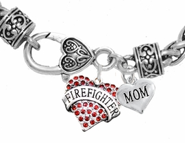 "<Br>              WHOLESALE FIREFIGHTER JEWELRY  <BR>                         AN ALLAN ROBIN DESIGN!! <Br>                   CADMIUM, LEAD & NICKEL FREE!!  <Br> W1557-1837B1  ""FIREFIGHTER  MOM"" HEART  <BR>  CHARMS ON HEART LOBSTER CLASP BRACELET <BR>                                   $9.38 �2016"