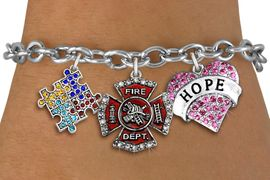 "<BR>      WHOLESALE FIREFIGHTER JEWELRY<bR>             LEAD & NICKEL FREE!! <BR> LARGE, BEAUTIFUL, CRYSTAL CHARMS <BR> W20246B - CRYSTAL FIRE DEPARTMENT, ""HOPE"" <BR> HEART, AND AUSTISM AWARENESS PUZZLE <BR>  CHARMS ON TOGGLE CLASP BRACELET <BR>      FROM $9.56 TO $21.25 �2013"