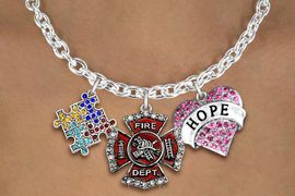 "<BR>      WHOLESALE FIREFIGHTER JEWELRY<bR>             LEAD & NICKEL FREE!! <BR> LARGE, BEAUTIFUL, CRYSTAL CHARMS <BR> W20247N - CRYSTAL FIRE DEPARTMENT, ""HOPE"" <BR> HEART, AND AUSTISM AWARENESS PUZZLE <BR>  CHARMS ON TOGGLE CLASP NECKLACE <BR>      FROM $11.81 TO $26.25 �2013"