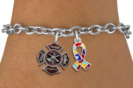 <BR>      WHOLESALE FIREFIGHTER JEWELRY<bR>           LEAD & NICKEL FREE!! <BR>  W20242B - FIRE DEPARTMENT AND <BR> AUTISM AWARENESS RIBBON CHARMS <BR>       ON TOGGLE CLASP BRACELET <BR>     FROM $5.06 TO $11.25 �2013
