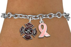 <BR>      WHOLESALE FIREFIGHTER JEWELRY<bR>           LEAD & NICKEL FREE!! <BR>  W20243B - FIRE DEPARTMENT AND <BR> PINK AWARENESS RIBBON CHARMS <BR>       ON TOGGLE CLASP BRACELET <BR>     FROM $5.06 TO $11.25 �2013
