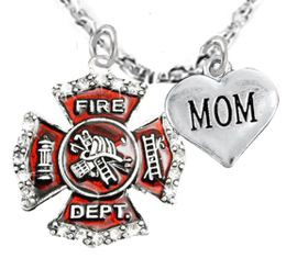 "<Br>WHOLESALE FIREFIGHTER MALTESE CROSS JEWELRY  <BR>                             AN ALLAN ROBIN DESIGN!! <Br>                    CADMIUM, LEAD & NICKEL FREE!!  <Br>     W1284-1837N1  ""FIREFIGHTER  MOM"" HEART  <BR>      CHARMS ON ADJUSTABLE CHAIN NECKLACE<BR>                                    $9.38 �2016"