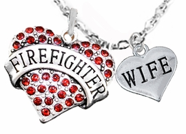"<Br>WHOLESALE FIREFIGHTER MALTESE CROSS JEWELRY  <BR>                             AN ALLAN ROBIN DESIGN!! <Br>                    CADMIUM, LEAD & NICKEL FREE!!  <Br>     W1557-1876N1  ""FIREFIGHTER  WIFE"" HEART  <BR>      CHARMS ON ADJUSTABLE CHAIN NECKLACE<BR>                      FROM $7.50 TO $9.50 �2016"