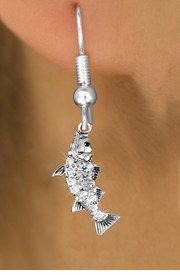 <BR>  WHOLESALE FISHING FASHION EARRINGS <bR>               EXCLUSIVELY OURS!! <Br>          AN ALLAN ROBIN DESIGN!! <BR>    LEAD, NICKEL & CADMIUM FREE!! <BR>  W1506SE - SILVER TONE AND GENUINE <BR>  AUSTRIAN CRYSTAL BASS FISH CHARM <BR>  EARRINGS FROM $5.40 TO $10.45 �2013