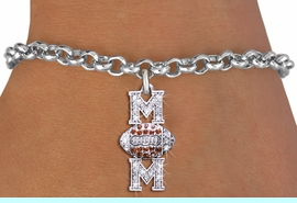 """<BR> WHOLESALE FOOTBALL CHARM BRACELET <bR>                 EXCLUSIVELY OURS!! <Br>            AN ALLAN ROBIN DESIGN!! <BR>   CLICK HERE TO SEE 1000+ EXCITING <BR>         CHANGES THAT YOU CAN MAKE! <BR>      LEAD, NICKEL & CADMIUM FREE!! <BR> W1476SB - SILVER TONE FOOTBALL """"MOM"""" <BR> CLEAR & TOPAZ CRYSTAL CHARM BRACELET <BR>          FROM $5.40 TO $9.85 �2013"""