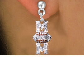 """<BR>  WHOLESALE FOOTBALL CHARM EARRINGS <bR>                 EXCLUSIVELY OURS!! <Br>            AN ALLAN ROBIN DESIGN!! <BR>      LEAD, NICKEL & CADMIUM FREE!! <BR> W1476SE - SILVER TONE FOOTBALL """"MOM"""" <BR> CLEAR & TOPAZ CRYSTAL CHARM EARRINGS <BR>         FROM $5.40 TO $10.45 �2013"""