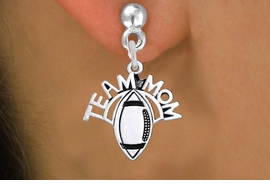 "<br>   WHOLESALE FOOTBALL CHARM JEWELRY <bR>                  EXCLUSIVELY OURS!! <BR>             AN ALLAN ROBIN DESIGN!! <BR>       CADMIUM, LEAD & NICKEL FREE!! <BR>      W1488SE - DETAILED SILVER TONE <Br> ""TEAM MOM"" FOOTBALL CHARM EARRINGS <BR>           FROM $3.65 TO $8.40 �2013"
