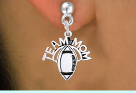 """<br>   WHOLESALE FOOTBALL CHARM JEWELRY <bR>                  EXCLUSIVELY OURS!! <BR>             AN ALLAN ROBIN DESIGN!! <BR>       CADMIUM, LEAD & NICKEL FREE!! <BR>      W1488SE - DETAILED SILVER TONE <Br> """"TEAM MOM"""" FOOTBALL CHARM EARRINGS <BR>           FROM $3.65 TO $8.40 �2013"""