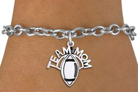 """<br> WHOLESALE FOOTBALL CHARM JEWELRY <bR>                     EXCLUSIVELY OURS!! <BR>                AN ALLAN ROBIN DESIGN!! <BR>       CLICK HERE TO SEE 1000+ EXCITING <BR>             CHANGES THAT YOU CAN MAKE! <BR>          CADMIUM, LEAD & NICKEL FREE!! <BR>        W1488SB - DETAILED SILVER TONE <Br> """"TEAM MOM"""" FOOTBALL CHARM & BRACELET <BR>              FROM $4.50 TO $8.35 �2013"""