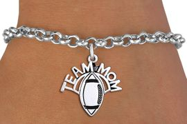 """<br> WHOLESALE FOOTBALL CHARM JEWELRY <bR>                     EXCLUSIVELY OURS!! <BR>                AN ALLAN ROBIN DESIGN!! <BR>       CLICK HERE TO SEE 1000+ EXCITING <BR>             CHANGES THAT YOU CAN MAKE! <BR>          CADMIUM, LEAD & NICKEL FREE!! <BR>        W1488SB - DETAILED SILVER TONE <Br> """"TEAM MOM"""" FOOTBALL CHARM & BRACELET <BR>              FROM $4.15 TO $8.00 �2013"""