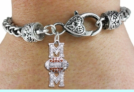 """<bR> WHOLESALE FOOTBALL HEART BRACELET <BR>                EXCLUSIVELY OURS!! <BR>           AN ALLAN ROBIN DESIGN!! <BR>              LEAD & NICKEL FREE!! <BR> W1476SB - SILVER TONE FOOTBALL """"MOM"""" <BR> TOPAZ AND CLEAR CRYSTAL CHARM ON <BR>      HEART LOBSTER CLASP BRACELET <Br>        FROM $5.63 TO $12.50 �2013"""